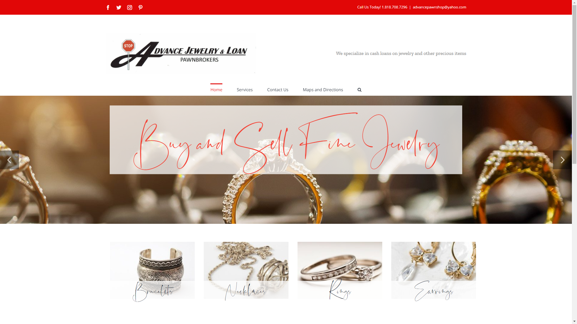 Advanced Jewelry and Loan home page