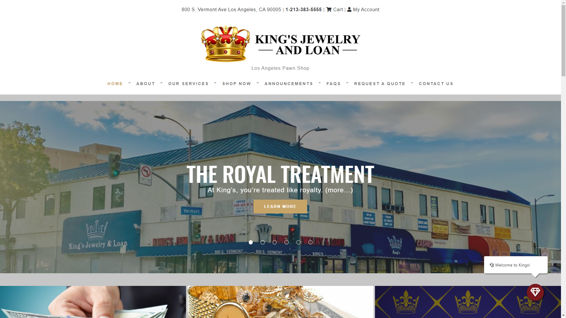 Kings Jewelry and Loan website