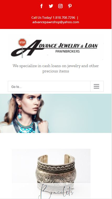 Advanced Jewelry and Loan mobile website